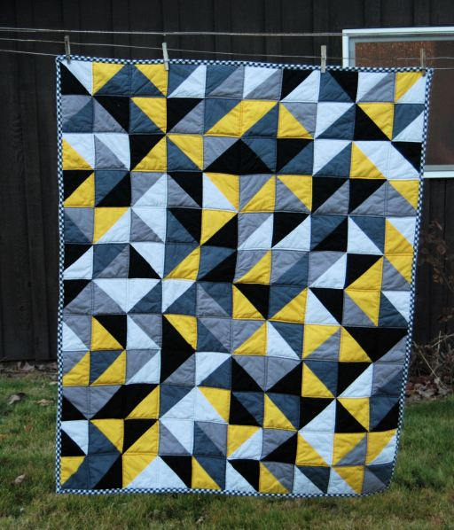 Abstract Triangle Quilt by The Little Waffleflower